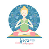 Pregnant Woman Doing Yoga isolated on white. Yoga for pregnant vector illustration