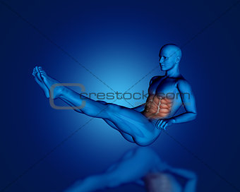 3D blue male figure with partial muscle map