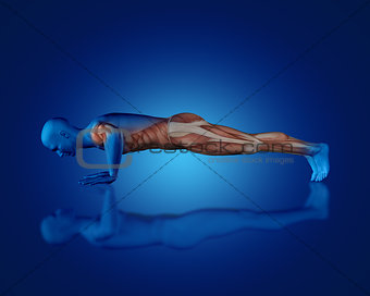 3D blue medical figure in push up position