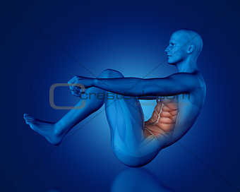 3D blue medical figure in sit up position