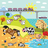 children illustration farm animals