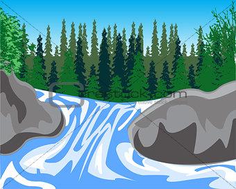 Waterfall on timber stream