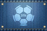 Soccer ball on blue jeans background. 2016 and soccer ball on je