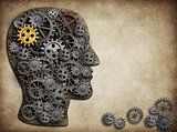 Brain gears and cogs, idea concept.