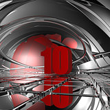 red number ten - 3d illustration