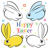 Easter. Vector set of rabbits. Contour and painted