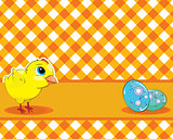 Vector Chicken and painted eggs on a checkered background. Easte