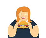 Happy fat woman eating a big hamburger