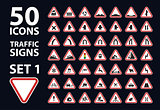vector collection of traffic warning sign red triangle road set 1