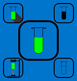 Test tube icons set