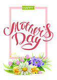 Happy mothers day. Holiday for mom. Greeting card lettering text