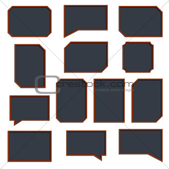 A set of wooden frames, vector illustration.