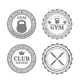 Set of sports emblems in retro style, vector illustration