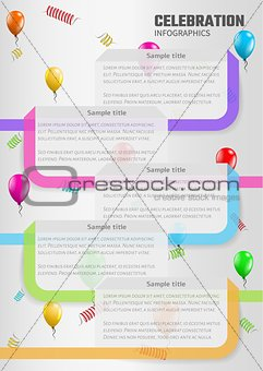 celebration infographics with balloons