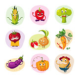 Funny Vegetable Characters Set