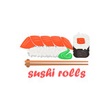 Sushi Rolls Cartoon Style Icon