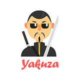 Japaneese Yakuza Cartoon Style Icon