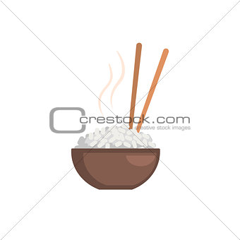 Rice Bowl Cartoon Style Icon
