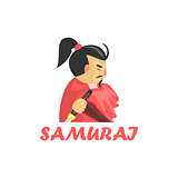 Samurai Cartoon Style Icon