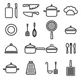 Vector kitchenware line icons