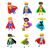 Kids Dressed as Superheroes Set
