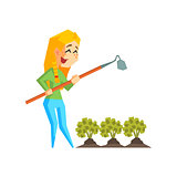 Girl Chopping Garden Bed