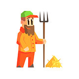 Man With Fork And Hay