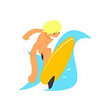 Blond Guy On Yellow Surfboard
