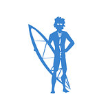 Guy Standing With Surfboard Print