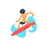 Guy On Red Surfboard From Behind
