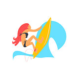 Red-haired Girl On Yellow Surfboard