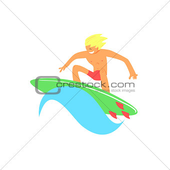 Blond Guy On Green Surfboard