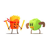 French Fries Against Cabbage Cartoon Fight