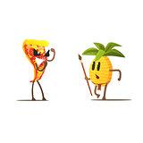Pizza Slice Against Pineapple Cartoon Fight