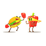 Hamburger Against Pepper Cartoon Fight