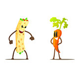Burrito Against Carrot Cartoon Fight