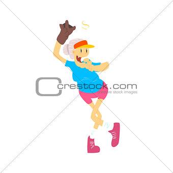 Old Lady Playing Baseball