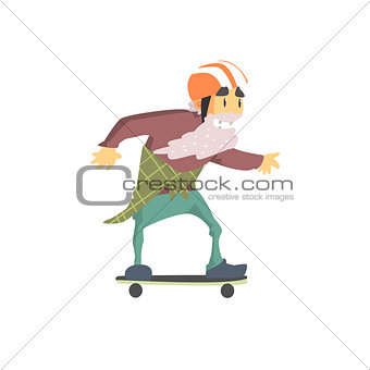 Old Man On Skateboard