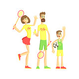 Sporty Family With Tennis Rackets And Ball
