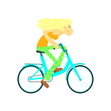 Girl Fast Riding Bicycle