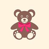 Cute teddy bear with red bow