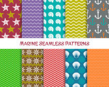 Vector sea and marine seamless patterns