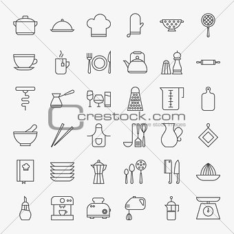 Kitchen Utensils Line Art Design Icons Big Set
