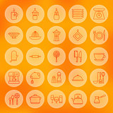 Line Circle Cooking Food and Utensil Icons Set