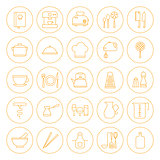 Line Circle Kitchenware and Cooking Icons Set