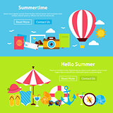 Summer Time Flat Website Banners Set