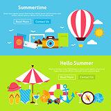 Summer Time Flat Website Banners Set
