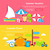 Summer Travel Vacation Flat Website Banners Set