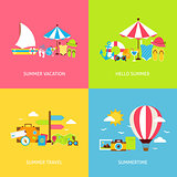 Summer Travel Vector Flat Concepts Set