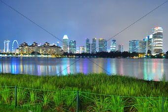 Greenery by Kallang River, with skyline and colourful reflections in the background
